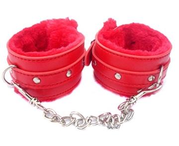 Lalang® Rot Sexy Spielzeug Plüsch-Handschellen PU-Leder-Handschellen Bondage Spielzeug Adult Sex Produkte Sex Toy Flirt Werkzeuge - 1