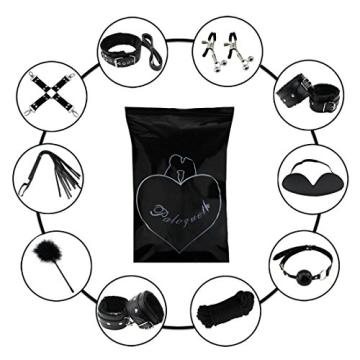 Paloqueth Sex Werkzeuge 10 Stück unter dem Bett Restraint System Slave S&M Fesseln Bondage Kit (Schwarz) - 7