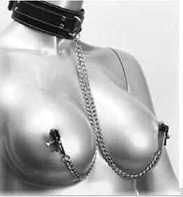 RJE Sexy Damen Nippeklammer mit Halskette Nippelklemmen SM Nippelschmuck Nippelkette Sexspielzeug - 1