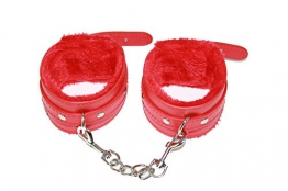 jowiha® Lederhandschellen Fussfesseln in Rot gepolstert Plüsch mit Karabiner Handschellen aus Leder - 1