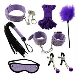 Paloqueth Sex Werkzeuge 7 Stück unter dem Bett Restraint System Slave Bondage Kit Blindfold + Handschellen + Federkitzler + Bondageseil 10M + Nipple Clamps + Feather Tick + Halsbänder (Lila) - 1